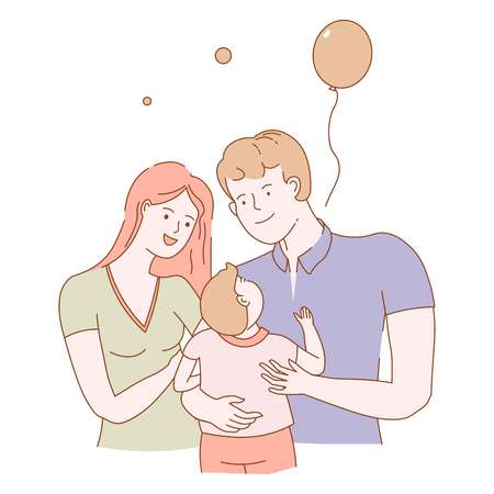 Family of young people man and woman couple vector mother and father holding small child spending time together childhood of kid inflatable balloon with lace decorating celebration of holidays. Ilustração