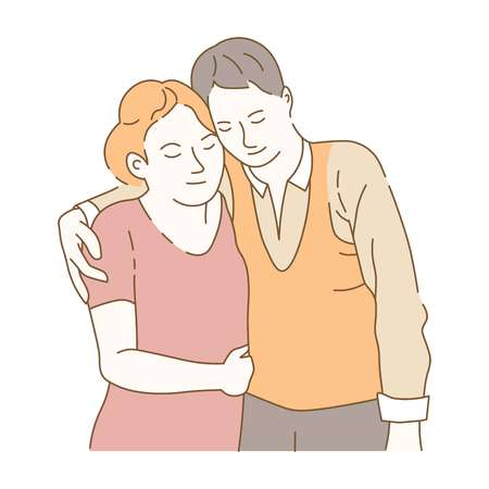 Couple in love spending time together amorousness of people vector affection of boyfriend and girlfriend hand drawn sketch fondness dating male and female married pair passionate wife husband. Illustration