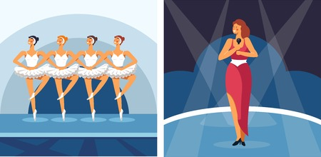 Performing arts ballet and pop music, different music genres, ballerinas wearing tutus, singing solo artist in red dress perform on stage under the limelight, colorful flat concept vector illustration on white background