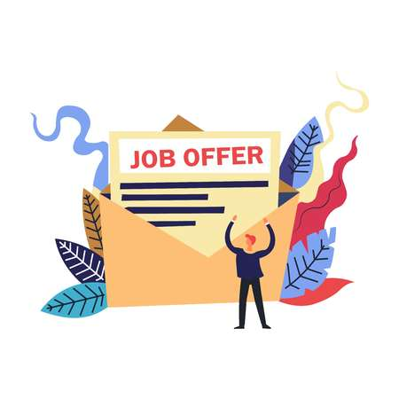 Happy person, suit wearing man, applicant receiving a desired job offer, big letter in opened envelope, achieving his goal, colorful floral greenery, foliage behind as abstract design element, graphic flat concept vector illustration on white background