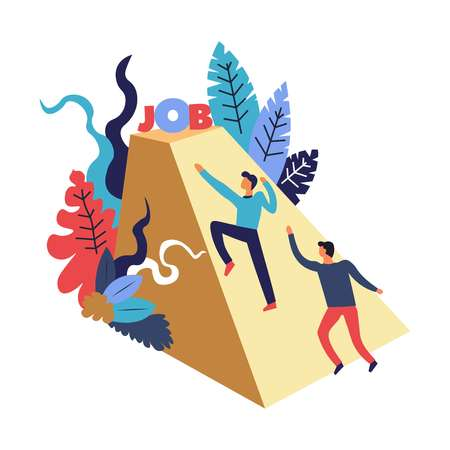 Two men, candidates, potential employees competing to get a desired offer, contract, employment, struggling, climbing up the pyramid, geometric figure with title job on the top, surrounded by colorful floral greenery, foliage, graphic flat concept vector illustration, white background Vektorgrafik