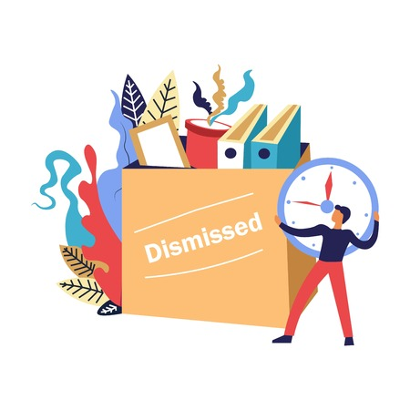 Termination of employment, forced resignation, dismissed, fired person collecting his staff, belongings into the box to leave office, surrounded by colorful floral greenery, foliage, graphic flat concept vector illustration on white background Иллюстрация