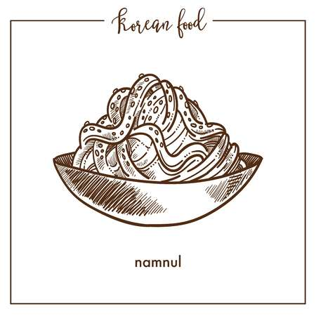 Bowl of delicious namnul from traditional Korean food. Exotic unusual dish with noodles. Nutritious oriental cuisine with special ingredients. Tasty namnul isolated monochrome vector illustration. Ilustração