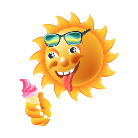 Sun smile or summer cartoon emoticon and emoji sunny face expression. Vector isolated icon of shining smiling character