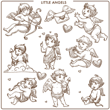 Little angels monochrome sketch outline small angelic kids flying on wings vector love letter with heart sign romantic message of lovers cupid shooting bow with feathers at sky nice kid person.