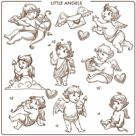 Piccoli angeli schizzo monocromatico delineano piccoli bambini angelici che volano sulle ali vettore lettera d'amore con segno di cuore messaggio romantico degli amanti Cupido tiro con l'arco con piume al cielo bel ragazzo persona.