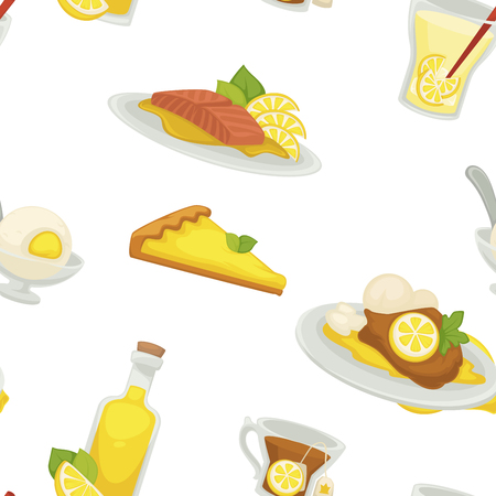 Lemon and lemonade, oil in glass bottle seamless pattern isolated on white background vector. Food, refreshing fruit, citrus with sour taste. Ice cream with flavor, drink with slices and straw