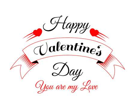 Happy Valentines in heart bright festive promotional poster with sign in italic and rounded frame isolated cartoon vector
