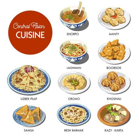 Central Asian food cuisine traditional dishes Uzbek pilaf rice, lagman soup or shorpa meat bouillon, kazy and beshbarmak delicatessen, manty dumplings and lagman noodles. Asia restaurant vector icons Иллюстрация