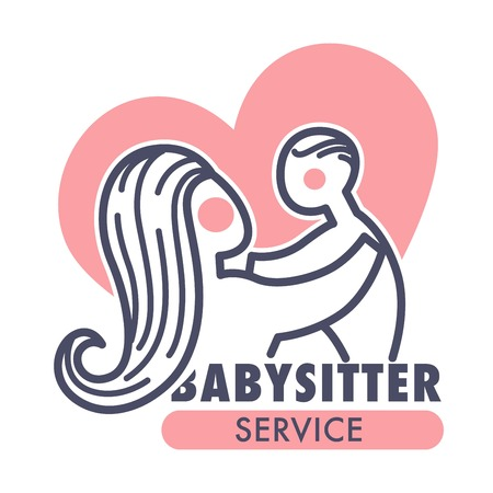 Babysitter service isolated icon mother and baby