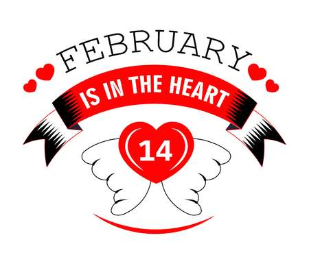 14 February in heart Valentines day isolated icon Illustration