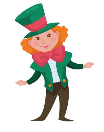 Alice in Wonderland isolated male character crazy hatter vector redhead curly guy in tall hat and bow jacket and pants fantastic personage from book boy in suit and headdress fairy tale or literature.