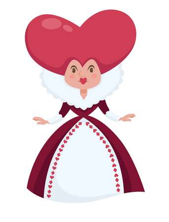 Alice in Wonderland isolated female character vector Queen of Hearts with heart-shaped head in ball gown fairy tale personage royalty woman childish book fantastic woman adventurous literature. Stock Illustratie
