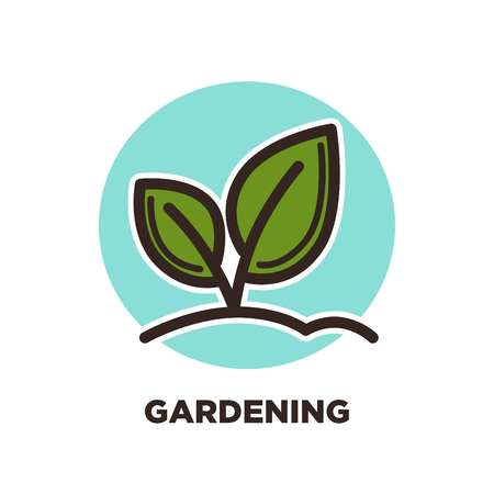 Green horticulture, planting or gardening agriculture process logo template.