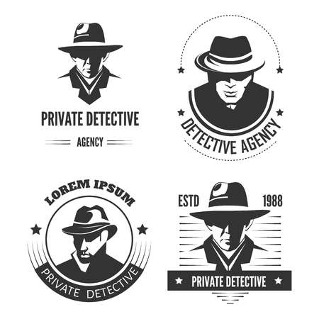 Reklamowe monochromatyczne emblematy prywatnego detektywa z mężczyzną w kapeluszu i klasycznym płaszczu. Ilustracje wektorowe