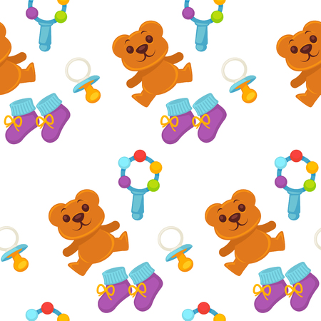 Baby newborn kid and pram perambulator seamless pattern vector. Kid wearing diaper, toys and comforter with warm shoes. Bottle for milk and liquids, heart on clothes for children. Infant and bear Иллюстрация