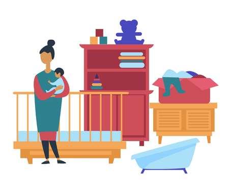 Muebles infantiles y juguetes o ropa en venta de garaje vector cliente con cuna y armario de cama y ropa de oso en caja y pirámide, productos de segunda mano para madre y niño ofrecen precios baratos al personal. Ilustración de vector