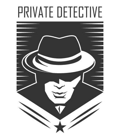 Private detective logo of vector man in hat for investigation service agency