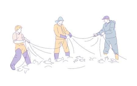 Pescadores con botas de agua que capturan peces en la red de pesca, pasatiempo vectorial y hombres deportivos con municiones y sombreros con equipo de pesca, actividad al aire libre o pasatiempo, mariscos, grupo aislado de personajes masculinos. Ilustración de vector