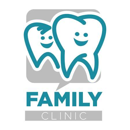 Family clinic dentist services teeth isolated icon Illustration