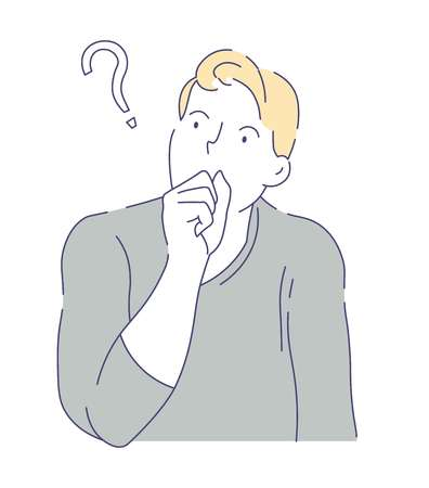 Doubts and hesitation man having question isolated vector male character questioning or making decision or idea cognitive activity guy in sweater covering mouth with fist thinking finding answer.