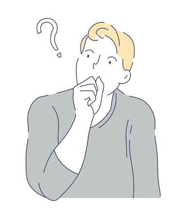 Doutes et hésitation homme ayant question isolé personnage masculin vecteur questionnement ou prise de décision ou idée activité cognitive gars en pull couvrant la bouche avec le poing pensant trouver la réponse.