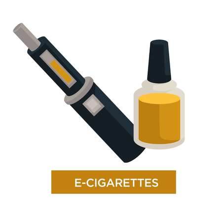 E-cigarette and liquid in bottle for recharge isolated vector electronic cigar modern device and technology smoking habit gadget cartridge and battery alternative way vapor and harmless smoke.