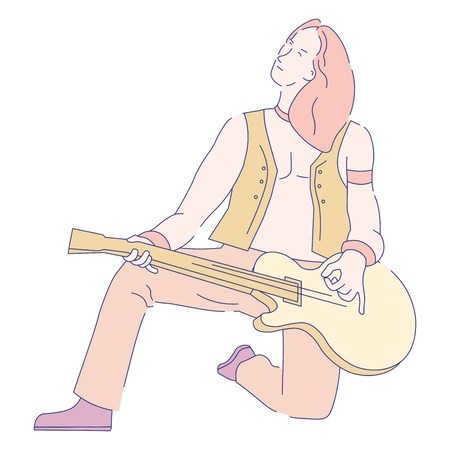 Guitarist musician with electric guitar rock music concert vector rocker with string musical instrument man in leather vest standing on knee player live sound performance isolated male character.