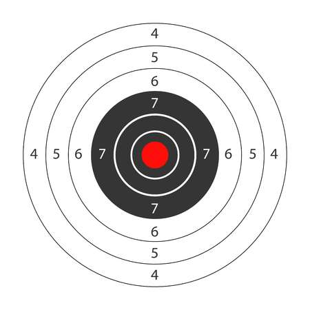 Round target with red spot in middle for shooting gallery.