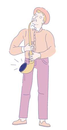 Saxophonist musician with golden saxophone jazz music concert vector player with wind musical instrument man with mustache in hat and bowtie live sound performance or show isolated male character.