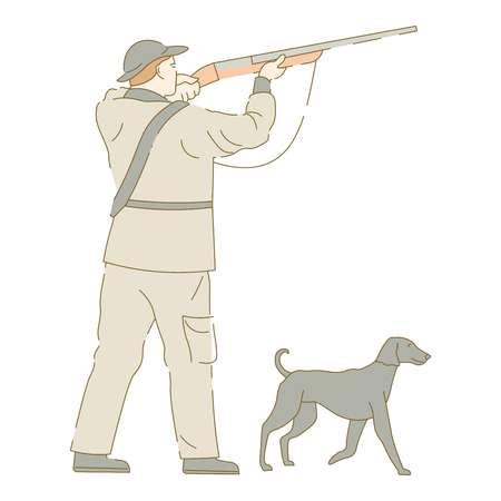 Hunter with dog aiming gun shooting birds hunting Illustration