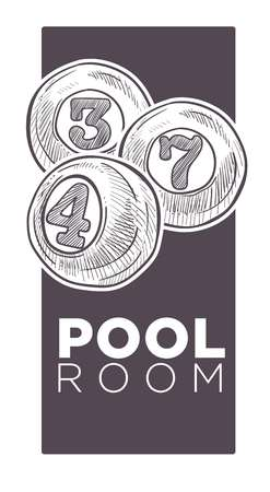 Poolroom logo monochrome sketch outline vector illustration. Çizim
