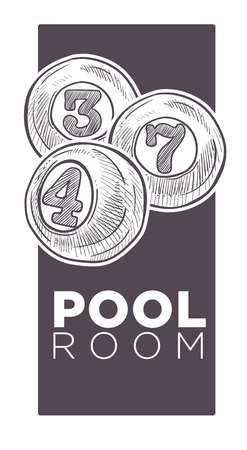 Poolroom logo monochrome sketch outline vector illustration. Illustration