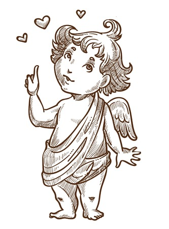 Valentines day angel or cupid with wings and curly hair vector isolated baby boy character curious face having idea winter holiday spirit legendary or mythical creature little matchmaker hearts.