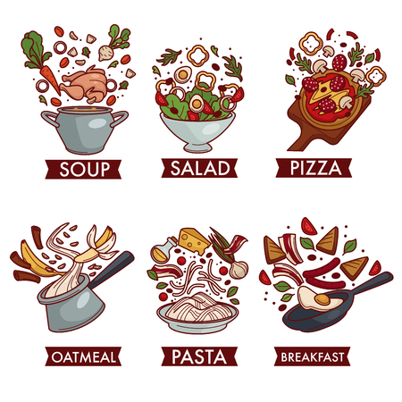 Food meals and dishes ingredients meat fruit and vegetables vector soup and salad pizza and oatmeal pasta and breakfast chicken egg and tomatoes salami and mushrooms banana and cereal cheese and bacon. Çizim