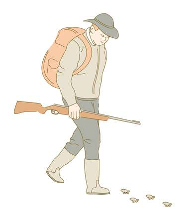 Hunting sport or hobby hunter with gun or rifle and backpack huntsman in hat vector isolated male character chasing animal traces hunt or poaching man and weapon following prey outdoor activity.