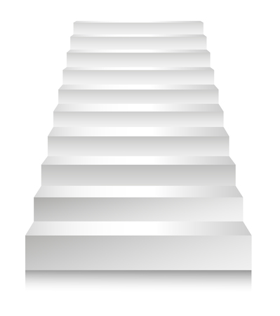Stairs or staircases and podium ladders. Vector 3D isolated white stairs set isolated in different angles for interior design or building stairway element template icons Banco de Imagens - 125864309
