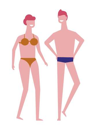 Man and woman in swimsuits summer beach season vector swimming girl in bikini and guy in trunks couple on vacation at seashore or ocean coast boyfriend and girlfriend in swimwear isolated characters.