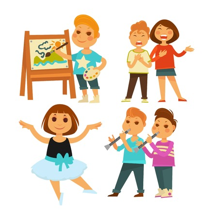 Kindergarten children doing arts painting and singing ballet and music vector boy easel and palette girl in tutu kids with flutes education and intellectual development toddlers isolated characters.