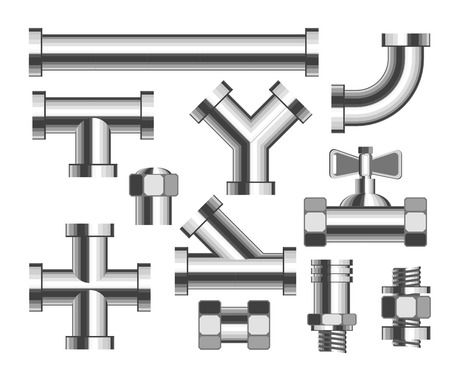 Pipes and tubes plumbing and building materials vector crane and nozzle bathroom water piping construction elements metal details and parts adapters replacement and household isolated objects.