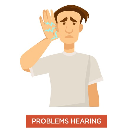 Deaf man hearing problems ear dysfunction treatment and medicine vector guy with poor auditory function disease or illness human body disorder discomfort and healthcare isolated male character. Vector Illustration