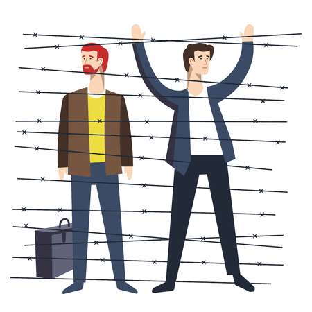 Barbed wire refugees illegal migration man with hands up and briefcase homeless deportation resettlement baggage criminals border crossing political shelter searching isolated male characters