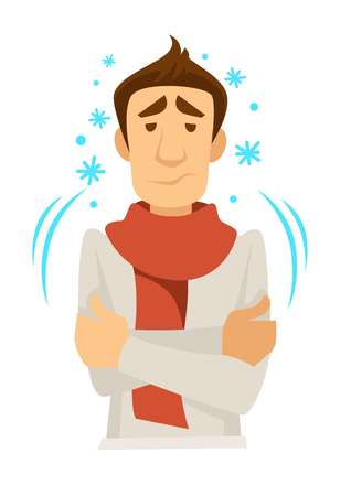 Shivering or trembling man in scarf with cold vector fever and illness or disease symptoms medicine and treatment or healthcare and recovery chill or ague isolated male character and snowflakes. Иллюстрация