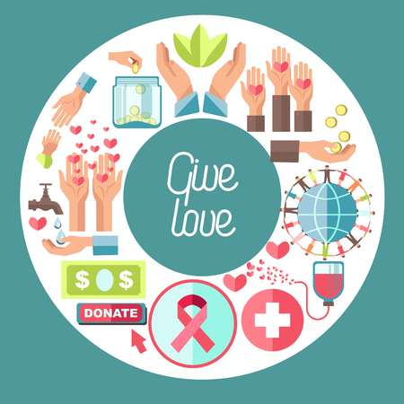Blood donation center and give love charity fund vector hearts and human hands blood packs and water drops gold coins and plants banknote or dollar bill glass jar globe and people holding hands.