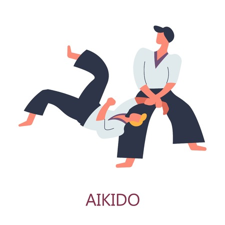 Japanese sport aikido fighting fighters in kimono combat vector oriental art of fight practicing and activity beating or defense sparring or competition master and apprentice isolated male characters. Vektorové ilustrace