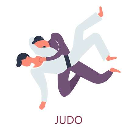 Japanese sport judo fighting attack and defense vector fighters in kimono with belts Oriental fight art and philosophy training master and apprentice sparring force and wisdom isolated male characters.