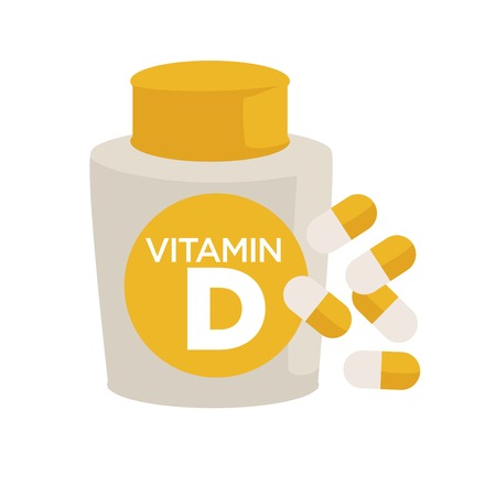Vitamin D bottle healthy food supplements or pills Illusztráció