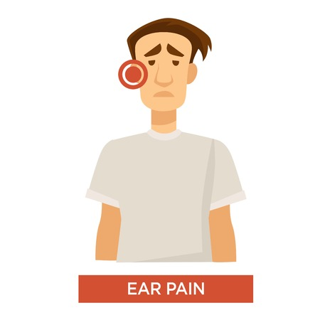 Sore ear pain sick or ill man medical treatment vector medicine and health earache discomfort and inflammation center disease or infection medication and healthcare isolated male character in T-shirt.