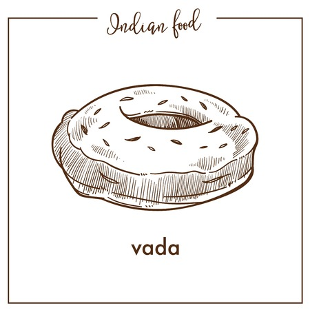 Tasty soft round vada from traditional Indian food. Savoury fried snack in form of donut. Delicious crispy bakery product isolated cartoon flat monochrome vector illustration on white background. Illustration