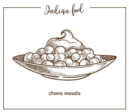 Chana masala on big plate from traditional Indian food. Exotic dish based on chickpeas with thick hot gravy. Snack or street food isolated cartoon monochrome vector illustration on white background.